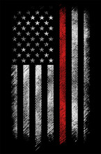Grunge Usa Firefighters Flag W...