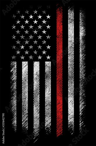 grunge usa firefighters flag with thin red line vector design Canvas Print