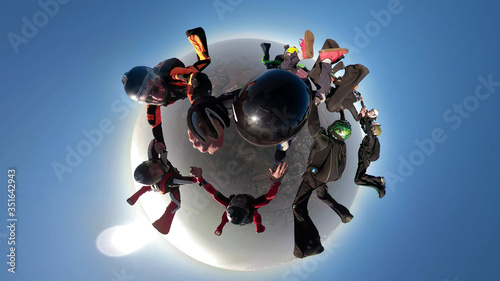 A parachuting team with a panoramic view from a 360 camera. Mini planet. #351642943