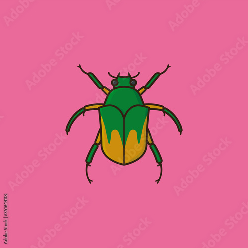 Canvas June bug or June Beetle vector illustration for June Bug Day
