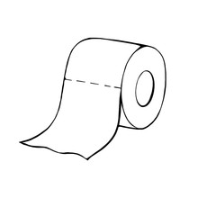 A Roll Of Toilet Paper In The Doodle Style.Hand-drawn Toilet Paper.Vector Illustration Isolated On A White Background.
