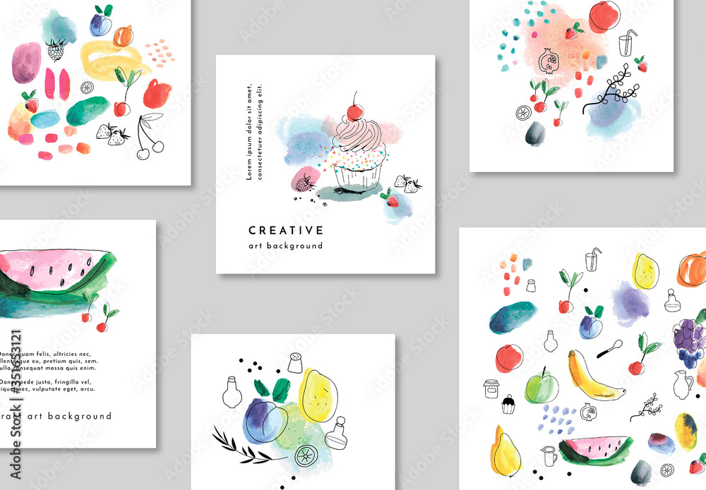 Fototapeta Set of Card Layouts with Fruits and Dessert Illustrations