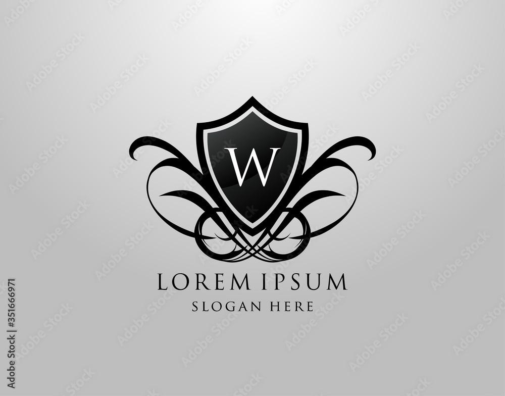 Fototapeta Majestic W Letter Logo. Vintage W Shield Design for Royalty, Restaurant, Automotive, Letter Stamp, Boutique,  Hotel, Heraldic, Jewelry, Wedding.