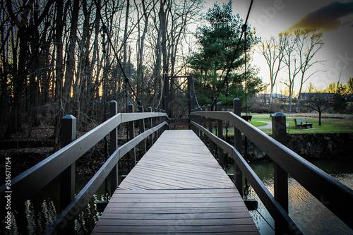 Footbridge Over River Against Bare Trees At Park Fototapet
