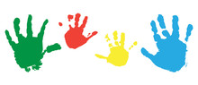 Print Of Child Hands, Set Of Colorful Palms Of Hands. Vector Illustration.