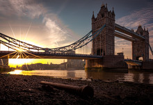 Low Angle View Of Tower Bridge During Sunset