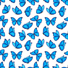 Blue Morpho Butterflies Fly On White Background. Vector Seamless Pattern. Decorative Print.