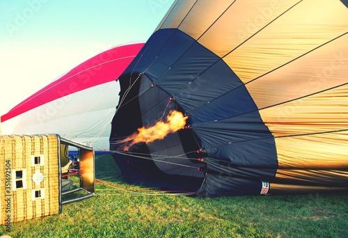 Obraz na płótnie Hot Air Balloon Being Prepared To Take Off