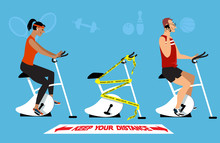 People Working Out In A Gym Following Post Lockdown Safety Protocol Of Physical Distancing And Hygiene, EPS 8 Vector Illustration