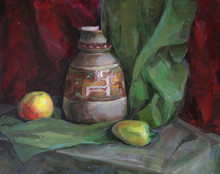 Strange Still Life With A Pepper And An Apple, Oil Painting