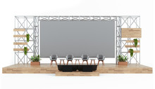 Wood And Metal Event Stage With Conference Panel Chairs, Industrial Design With Giant Screen, 3d Mockup Auditorium.