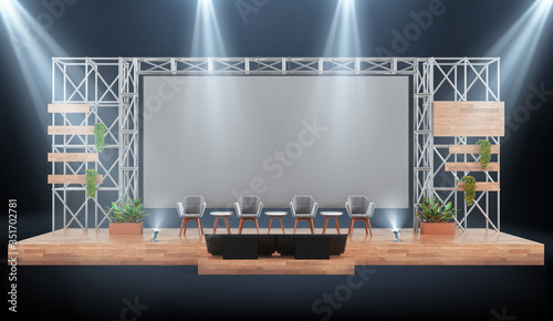 Photo Wood and metal event stage with conference panel chairs, industrial design with giant screen, 3d mockup auditorium