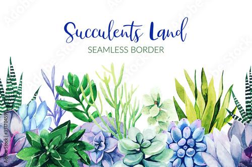 Fototapeta Seamless border composed of green and violet succulent plants obraz