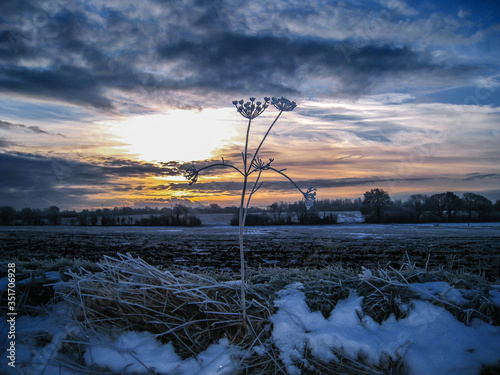 Stampa su Tela Snow Covered Field Against Sky During Sunset