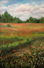 Road In A Field, Summer View, Oil Painting