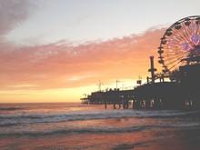 Silhouette Of Ferris Wheel On Santa Monica Pier