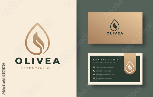 water drop / olive oil logo and business card design Fototapeta
