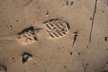High Angle View Of Shoe Print ...