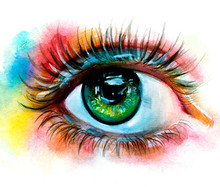 Watercolor Eye On Abstract Col...