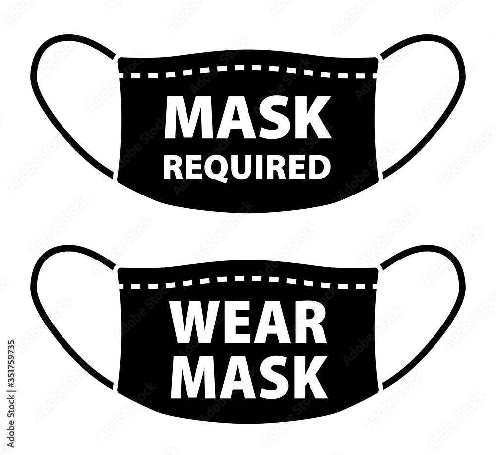 Fototapeta Wear face mask and mask required icon