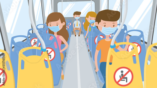 Obraz People with blue mask traveling by bus respecting social isolation, sitting in the designated seats to maintain a safe distance to avoid infection. Vector image - fototapety do salonu