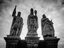 Low Angle View Of Sculptures On Charles Bridge