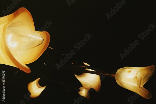 Low Angle View Of Illuminated Pedant Lights In Darkroom Fototapet