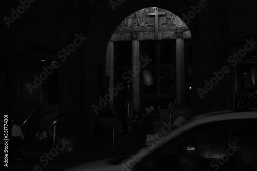 Photo Darkened Interior Of A Church