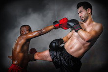 Diverse Boxing Fighters Fighting On Ring In Champion Match