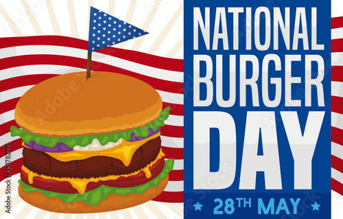 Obraz Delicious Cheeseburger with Patriotic Toothpick and Design for National Burger Day, Vector Illustration - fototapety do salonu