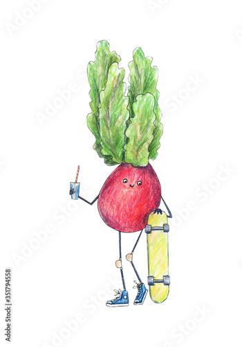 Fotografie, Obraz Skateboard illustration, raster illustration, radish vegetables
