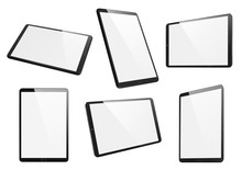 Collection Of Black Tablets, Isolated On White Background
