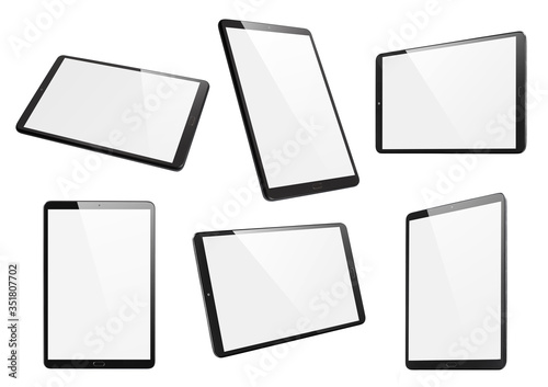 Fototapeta Collection of black tablets, isolated on white background obraz