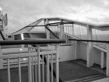 Steps On Cruise Ship Against Cloudy Sky