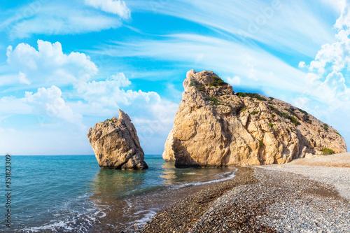 Photo Cyprus beach. Aphrodite's Rock. Republic of Cyprus. Petra tou Ro