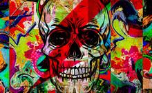 Skull Graffiti On The Wall