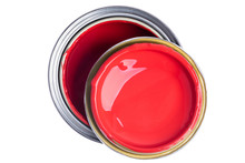Paint Can With Lid Top View Isolated On White Background