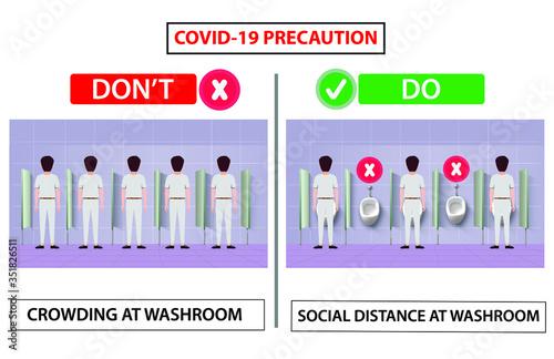 Social distance in washroom urinal Canvas-taulu