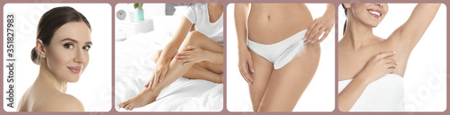 Obraz Collage with photos of woman showing smooth skin after epilation. Banner design - fototapety do salonu