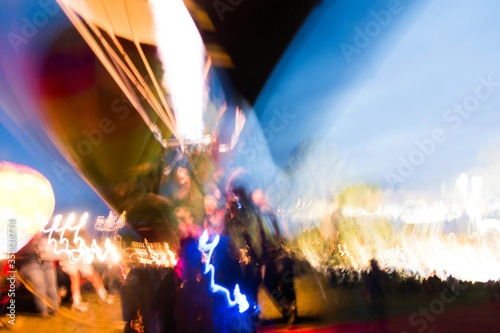 Fotografiet Low Angle View Of Fire In Hot Air Balloon