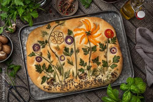 Obraz Floral painting focaccia,  garden flatbread art, food trend - fototapety do salonu