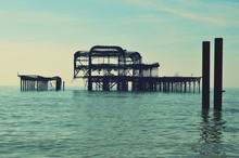 View Of Broken Pier In Sea