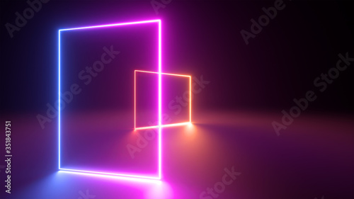 3d render, abstract neon geometric background Canvas Print