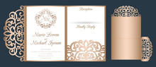 Laser Cut Wedding Invitation Tri Fold Pocket Envelope Template Vector. Suitable For Greeting Cards, Invitations, Menus.