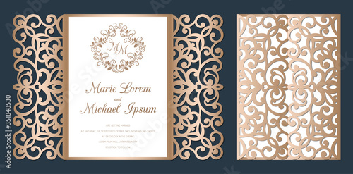 Laser cut wedding invitation gate fold card template vector Wallpaper Mural
