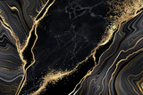 abstract black marble background with golden veins, japanese kintsugi technique, fake painted artificial stone texture, marbled surface, digital marbling illustration