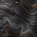abstract black agate background with golden veins, fake painted artificial stone, marble texture, luxurious marbled surface, digital marbling illustration - 351851743