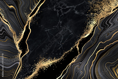 Canvastavla abstract black marble background with golden veins, japanese kintsugi technique,