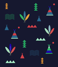 Indian Summer Play Camp Pattern. Aztec Style Tee Pee. Stylized Mountains Forest Adventure Themed Editable Design Element For Grown Ups And Children. Stylish Fashionable Geometric Minimalist Style.