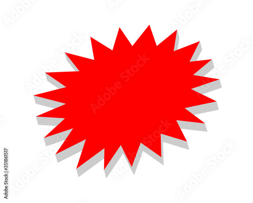 Fotografie, Obraz stickers red for discount price message, chat label serrated shape, sticker star